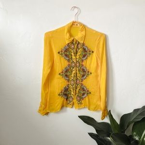 Johnny Was | Yellow Embroidered Button Up Shirt